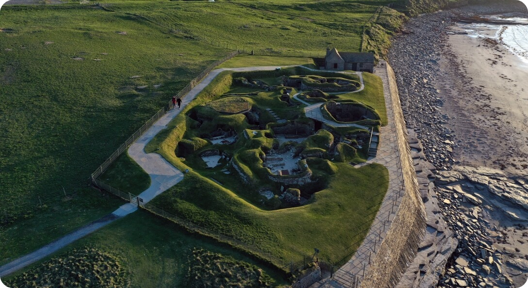 Aerial photo of Skara Brae by Ken Amer - Orkney Photographic